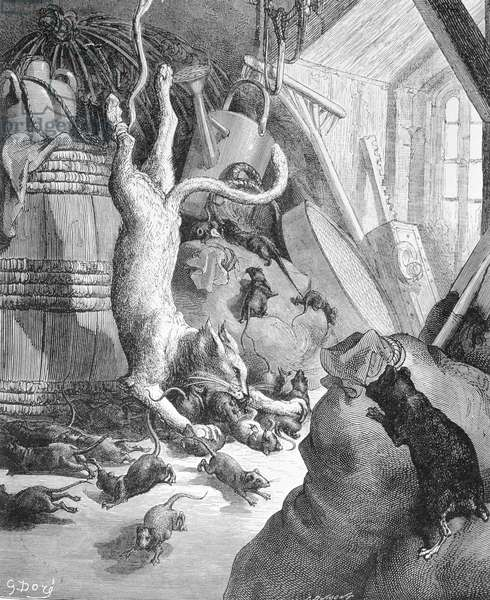 The Cat and the Old Rat, illustration from 'Fables' by La Fontaine, 1868 (engraving)