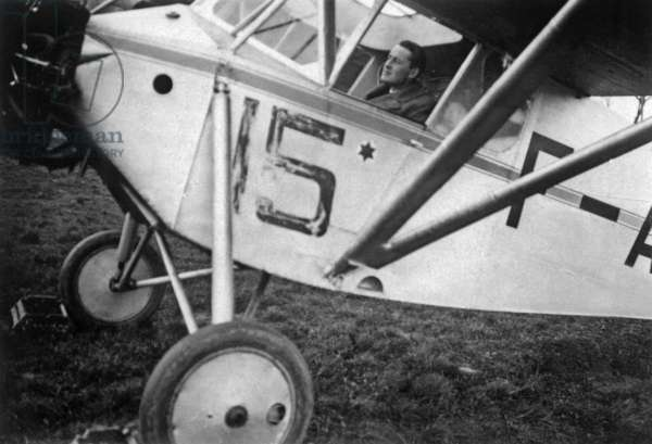 Paul-Emile Victor (1907-1995) french explorer and ethnologist, here in a Piper Cub, 1931 (b/w photo)
