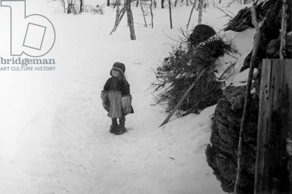 Lapp girl, during the travel in Swedish Lapland, Kiruna, March, 1939 (b/w photo)