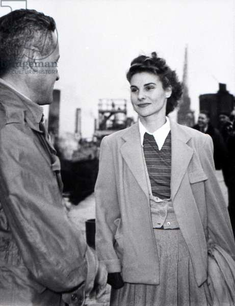 The day before the departure of the first French polar expedition to Greenland, Paul-Emile Victor and his wife Éliane, Rouen, France, May 1948 (b/w photo)