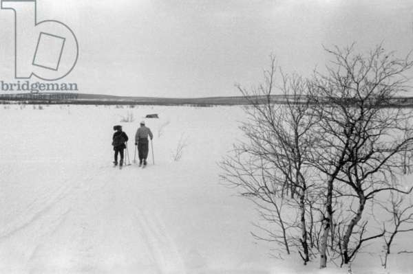 Lapps, during the travel in Swedish Lapland, Kiruna, March, 1939 (b/w photo)