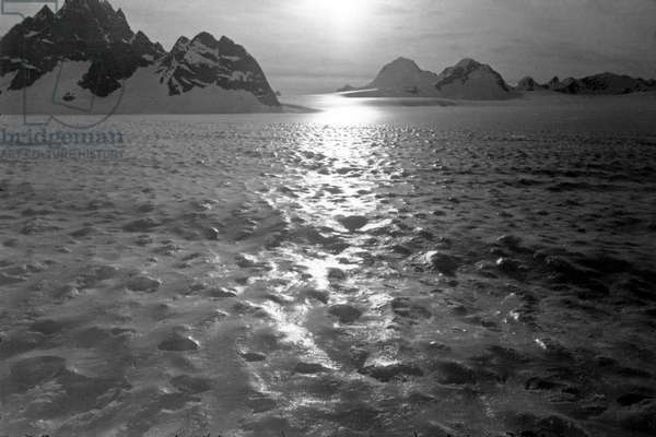 Landscape, Kangerdlugssuatsiak, Greenland, Winter, 1936 -37 (b/w photo)