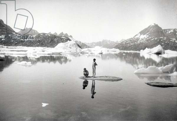 Inuit children bathing in the fjord of Kangerdlugssuatsiak, Greenland, Autumn, 1936 (b/w photo)