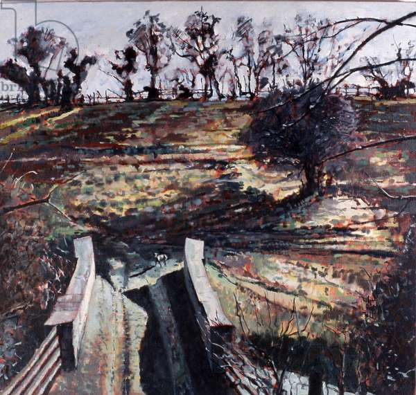 Bridge and Dog, 2000 (oil on canvas)