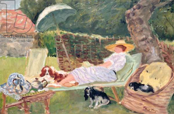 Jessie Reading in the Garden at Mill Cottage (oil on canvas)