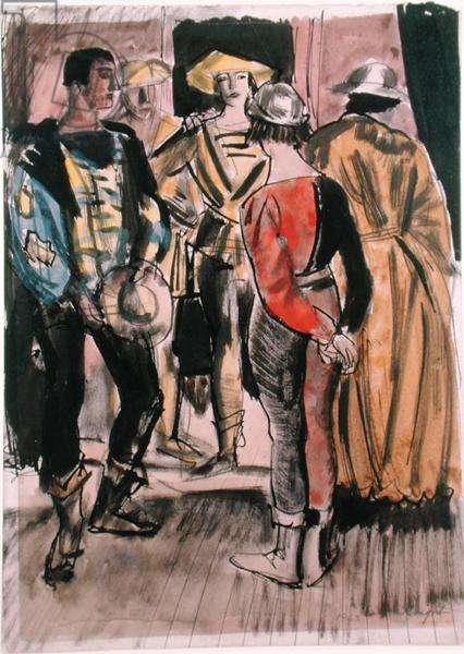 Backstage, Romeo and Juliet, Regent Theatre, 1943 (black ink, w/c & pencil)