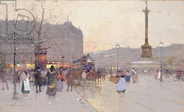 Figures in the Place de la Bastille (gouache on paper)
