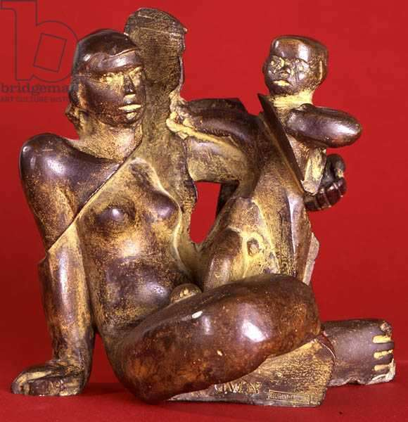 Mother and Child (bronze with ochre patina)