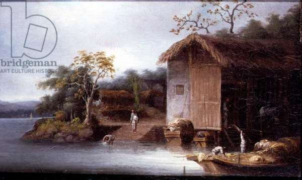 T33515 Fishermen before Riverside Houses in Indo-China (see 88851 for pair)