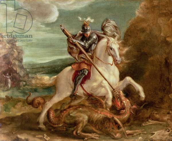 St. George slaying the dragon, (oil on panel)