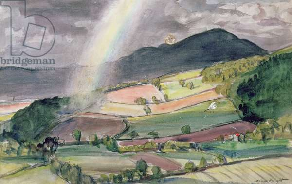 Rainbow over the Malvern Hills (w/c and charcoal)