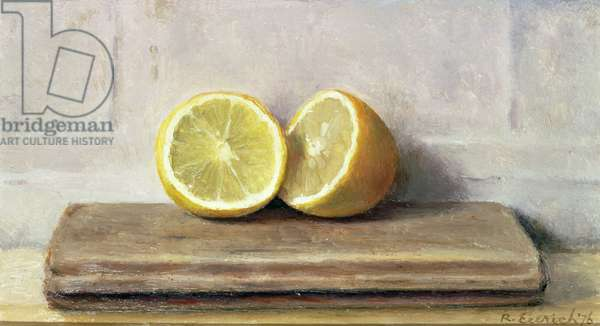 Two Halves of a Lemon, 1976 (oil on board) (pair of 119393)