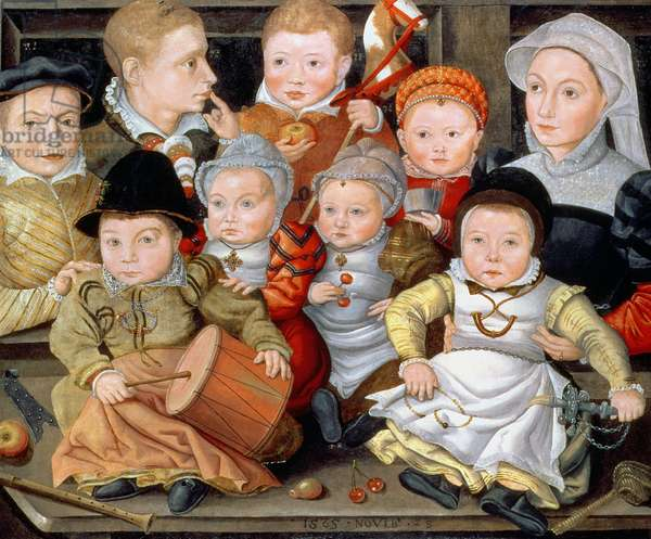 T33337 Portrait of a mother with her eight children, 1565 (panel) 8914465