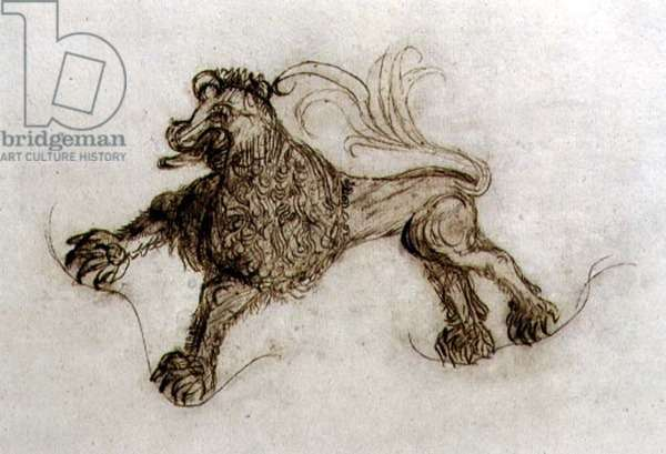 T31462 Grotesque of a Lion (pen & ink)