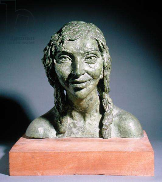 Fourth Portrait of Kathleen (Laughing), (bronze with green patina)