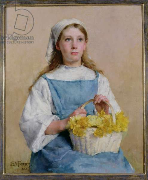 T33897 Young Breton Girl with a Basket of Daffodils, 1882 (oil on canvas)