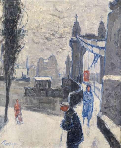 Hammersmith Bridge, Winter, 1955 (oil on canvas)