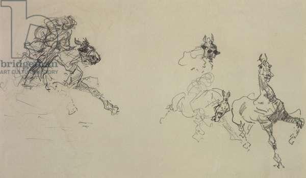 Etude de Chevaux (recto) (pencil on paper)