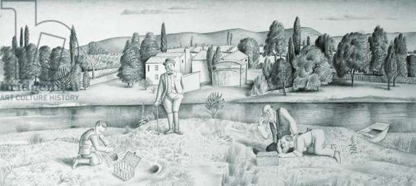 Rabbiting by the River, 1929 (pencil on paper)
