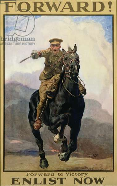 'Forward! Forward to Victory, Enlist Now', recruitment poster, 1915 (colour litho)