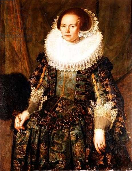 Portrait of Eva Ment, wife of Governor Jan Pietersz, Coen of Hoorn, 1631 (panel)