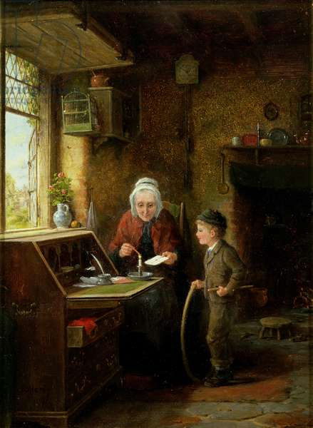 Sealing a Letter, 1890 (oil on panel)