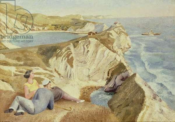 Lulworth Cove, 1934 (oil on canvas)