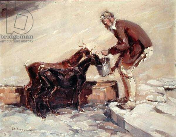 Feeding the Goats (oil on board)