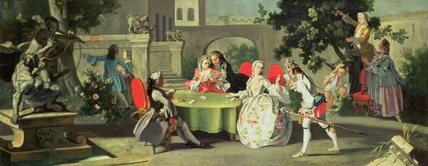 An ornamental garden with elegant figures seated around a card table (their play interrupted by the arrival of a messenger, a couple picking figs beyond)