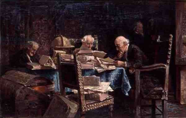 Bibliophiles, 1866 (oil on panel)