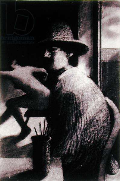 Man in Straw Hat with Model, 1980 (charcoal on paper)