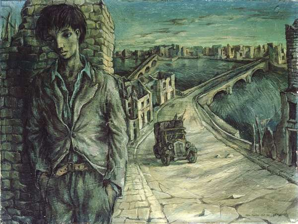 Blitzed city with self-portrait, 1941 (oil on board)