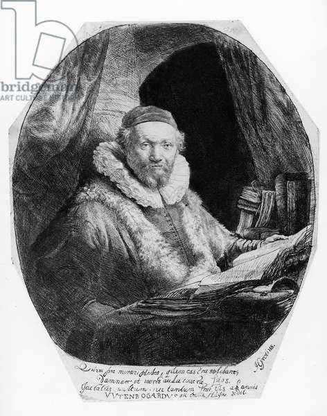 T29953 Portrait of Jan Uytenbogaert, Preacher of the Remonstrants, 1635 (etching) (b/w)