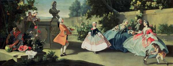 An ornamental garden with a young girl dancing to a fiddle (observed from behind a wall by a mother holding a child with elegant company beside her, a young boy playing with a dog and a servant slicing watermelons)