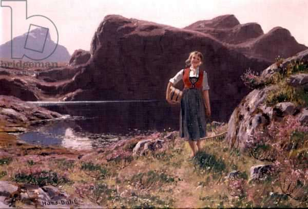 A Young Girl in a Fjord Landscape (oil on canvas)