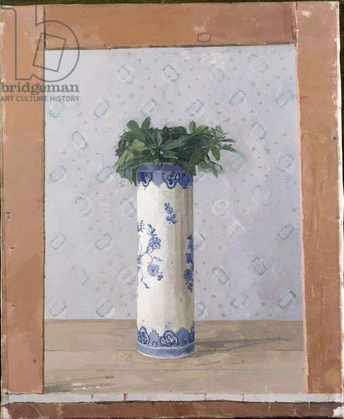 T33797 Leaves in a Delft Jar (oil on canvas)