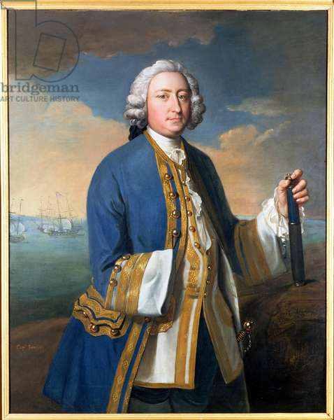 Portrait of Captain David Brodie (1709-87) Holding a Telescope (oil on canvas)