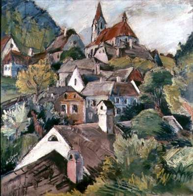 A Hilltop Village, 1930 (oil on canvas)