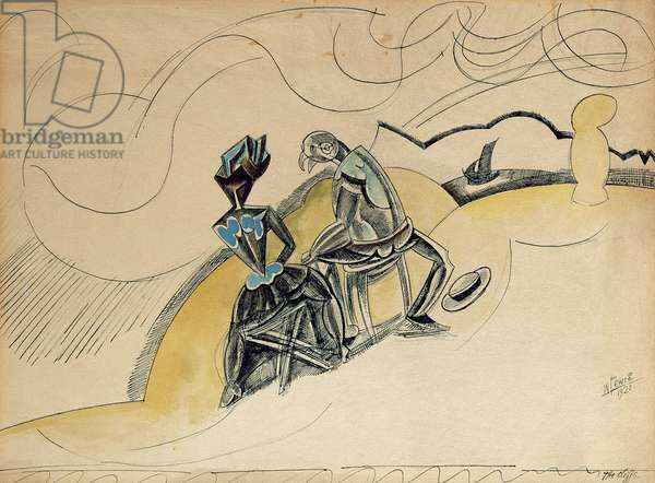 T30865 The Cliffs, 1920 (pen & ink, wash & pencil on paper)