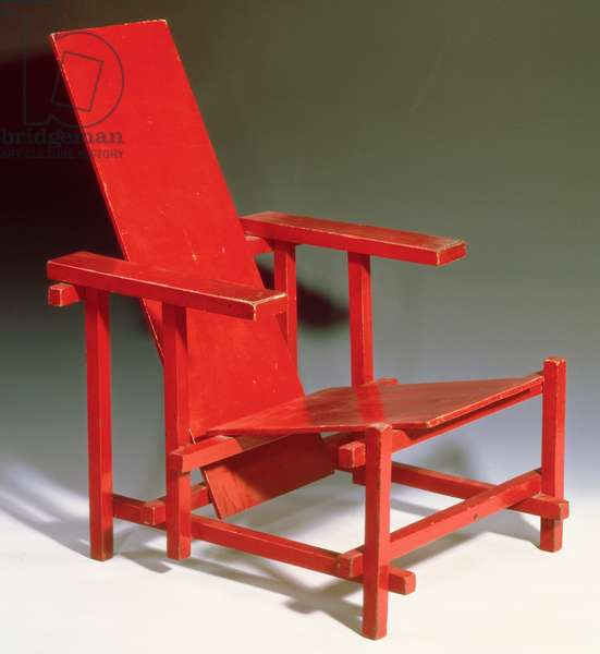 Early important Red Blue Chair, 1918 (painted wood)