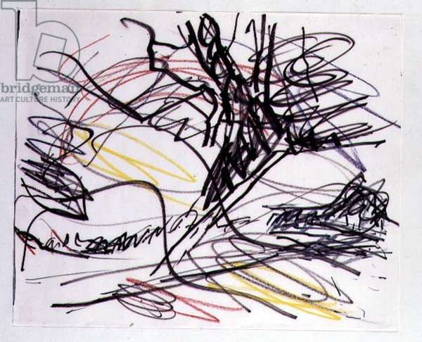 Study for a Tree on Primrose Hill, 1985 (ink & crayon on paper)