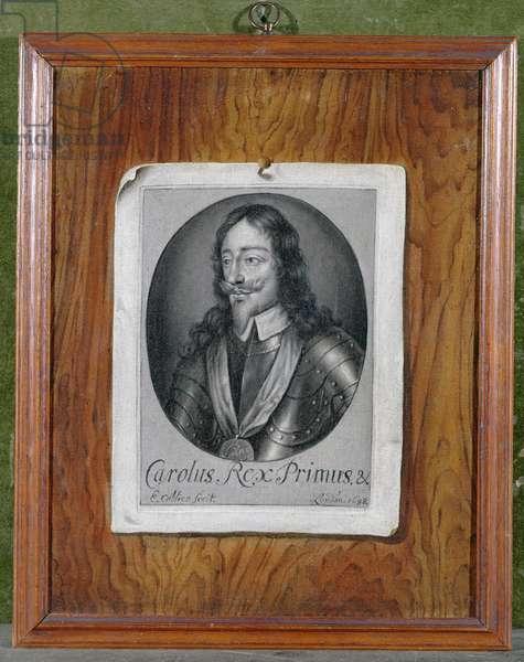 Trompe L'Oeil Still Life of a Print of Charles I (1600-49) 1698 (oil on canvas)