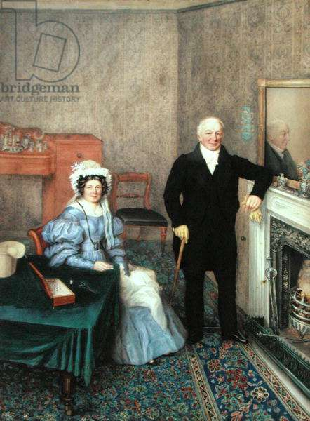 An Elegant Couple in the Drawing Room, c.1832 (w/c & bodycolour over pencil on paper)