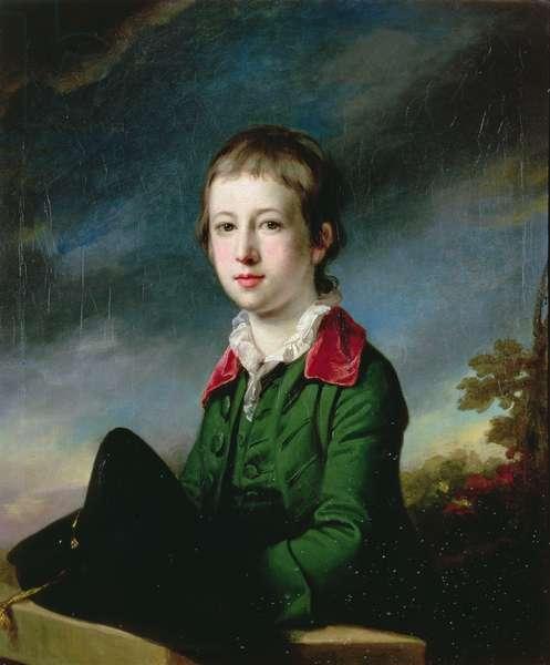 Boy in green coat with red velvet collar