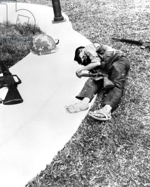 Vietnam: Dead National Liberation Front (Viet Cong) guerrilla,  US Embassy, Saigon - Tet Offensive, 31 January 1968