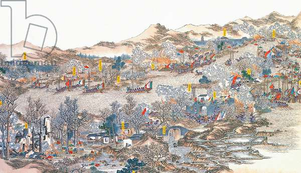 China: Qing forces 'destroying bandit layers along the Xun River' (Taiping Rebellion, 1850-1864)