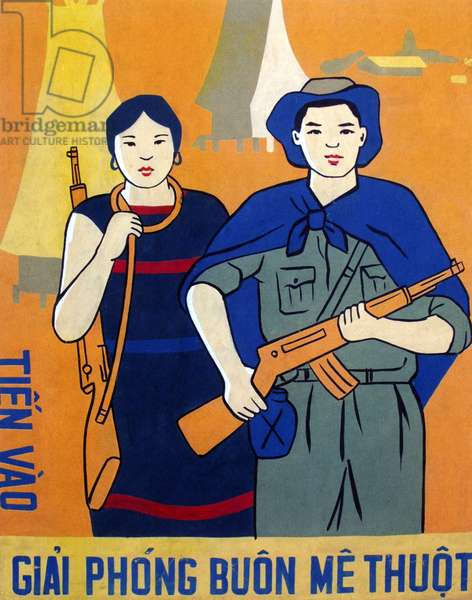 Vietnam: Communist propaganda poster - 'Attack to Liberate the town of Buon Ma Thuot'