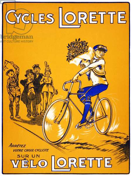 France: Advertising poster for 'Cycles Lorette' bicycles, Paris, c. 1910