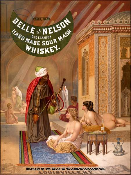 USA: Orientalist 'Belle of Nelson' sour mash whiskey advertising poster featuring a somewhat risque harem scene, 1878