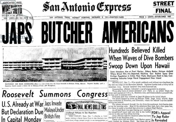 USA / Japan: Headline of the San Antonio Express (Texas) on 8 December, 1941, the day after the Japanese attack on Pearl Harbour